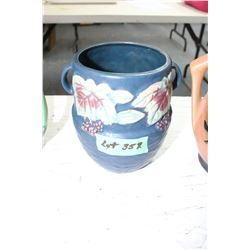 Roseville Vase - Blue with White Flowers