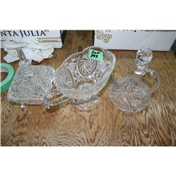 3 pcs. Crystal - Cruet, Pitcher & Covered Dish