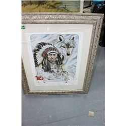"Ornately Framed ""Grey Wolf"" Picture by 'Nez Perce'"