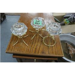 3 Crystal Candle Holders