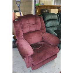 Burgundy Recliner with Built-in Phone