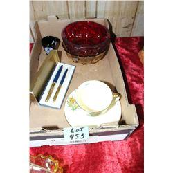 Box w/Parker Pen Set, Royal Winton Cup & Saucer & Misc. Dishes