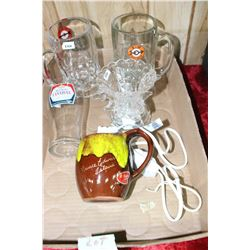 Box w/A & W Mugs, Glass, Cup and a Light