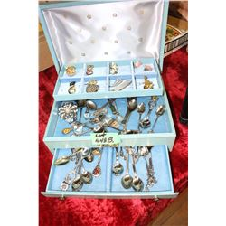 Jewelry Box with Jewelry & Collector Spoons
