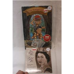 Canada Fifty Cent Coins (5) & Children's Collector Booklets w/Stories, Games & Money Display Card
