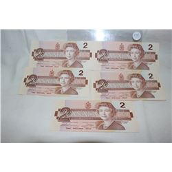 Canada Two Dollar Bills (5)