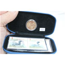 Canada Loonie Coin & 2 - One Dollar Stamps