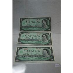 Canada One Dollar Bills (3)