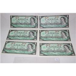 Canada One Dollar Bills (6)