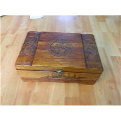"CARVED JEWELRY BOX - ALL WOOD - MERMAIDS - NEEDS TLC INSIDE - 12.5 X 8.5 X 5""H"