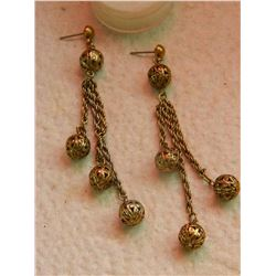 "EARRINGS - 3 STRAND DANGLING - 2 3/4"" LONG"
