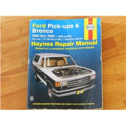 HAYNES REPAIR MANUAL - FORD PICK-UPS & BRONCO - 1980 thru 1996