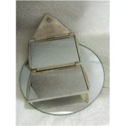 MIRROR - COMPACT DOUBLE MIRROR IN METAL CASE - CLOSED 83MM X 60MM