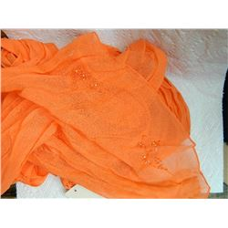 "SHAWL, HIJAB - NEW - ORANGE - BEADS ON END - 17½"" X 76"""