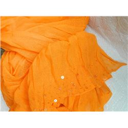 "SHAWL, HIJAB - NEW - ORANGE - WIDE BEADS ON END - 17 ½"" X 76"""