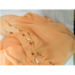 SHAWL, HIJAB - NEW - PEACH -  BEADS ON END - 13 X 70""
