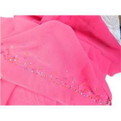 SHAWL, HIJAB - NEW - PINK - BEADING ON ENDS - 17 X 81""