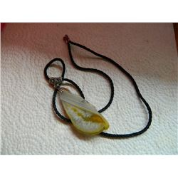 "ROPE NECKLACE WITH 3"" AGATE SLICE"