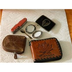 BAG OF ASSORTED - INCLUDES BELT BUCKLE & LEATHER CHAIN PURSE & MORE