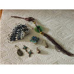 BAG OF ASSORTED - BEADED, ORIENTAL JADE, MEDAL, EARRINGS & MORE