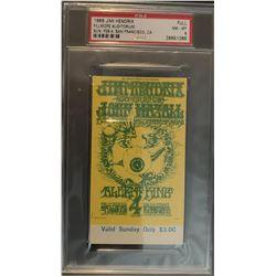 PSA/DNA Original 1968 Ticket Jimi Hendrix Experience Fillmore Auditorium Concert