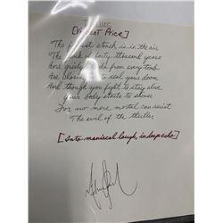 "Vincent Price ""Michael Jackson's Thriller"" Signed Monologue"