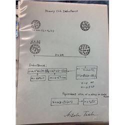 Nicola Tesla Signed Inductance Coil Diagram