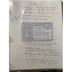 """George Harrison """"Something"""" Signed Lyrics"""