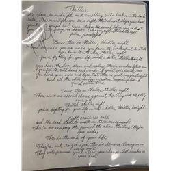 Michael Jackson Signed & Handwritten Thriller Lyrics