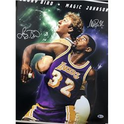 Larry Bird and Magic Johnson Signed Poster
