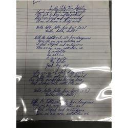 """Kurt Cobain """"Smells Like Teen Spirit"""" Handwritten Lyrics"""