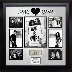 Lennon & Ono Signed US Silver Certificate Collage