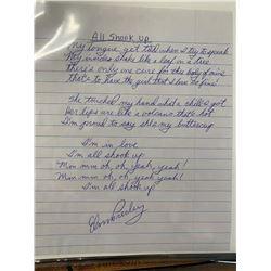 """Elvis Presley """"All Shook Up"""" Signed Lyrics"""