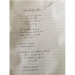 Kurt Cobain Signed Come As You Are Lyrics