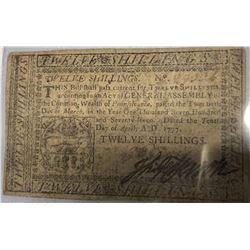 Thomas Jefferson Signed 12 Shilling Note