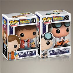 Back to the Future Cast Signed Funko Pop Set
