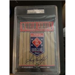 Sandy Koufax Signed 1965 Dodgers World Series Patch