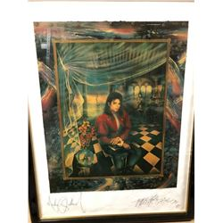 """Michael Jackson & Artist Strong Signed """"The Book"""" Framed Print"""