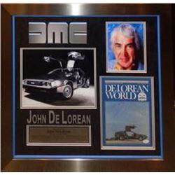 John DeLorean Signed & Framed Photo Collage