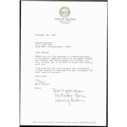 Bill Clinton Signed & Inscribed Governor's Letter