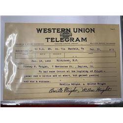 Wright Brothers Signed & Written Telegram