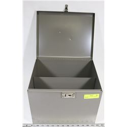 GREY METAL STORAGE BIN WITH DIVIDER