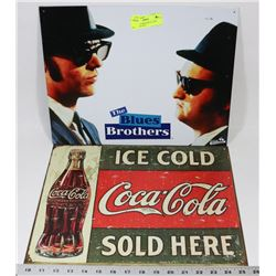 BLUES BROTHERS METAL SIGN WITH COKE SIGN
