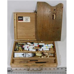 1940'S ART PAINT WOOD CASE WITH REEVES PAINT