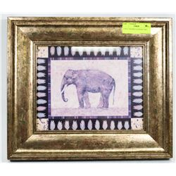 "15""X13"" FRAMED ELEPHANT ART."