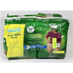TWO PACKS OF DEPENDS INCONTINENCE BRIEFS
