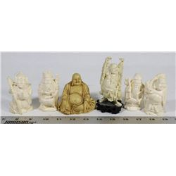 FLAT OF 6 ORNAMENTAL BUDDHA'S.