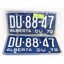 PAIR OF 1970 ALBERTA LICENSE PLATES, NEVER USED