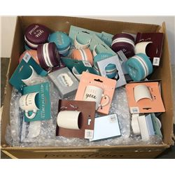 BOX OF ASSORTED MINI 5 OZ MUGS AND ZIPPERED