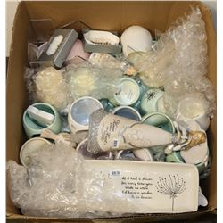 BOX OF NEW ASSORTED DECORATIONS, CANDLES AND MORE